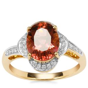 Congo Rubellite Ring with Diamond in 18K Gold 2.65cts