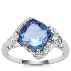 Baiyang Colour Change Fluorite Ring with White Zircon in Sterling Silver 3.61cts