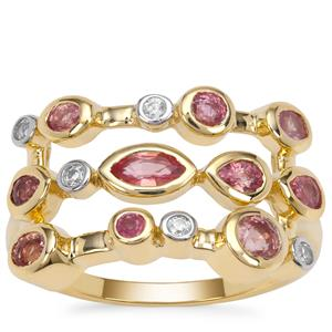 Padparadscha Sapphire Ring with White Zircon in 9K Gold 1.10cts