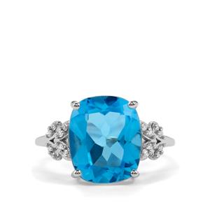 Swiss Blue Topaz & Diamond 9K White Gold Ring ATGW 6.56cts