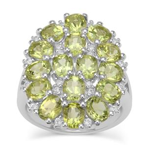 Red Dragon Peridot Ring with White Zircon in Sterling Silver 6.45cts