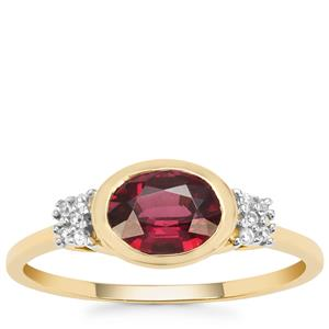 Malawi Garnet Ring with White Zircon in 9K Gold 1.47cts