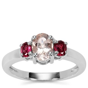 Rose Danburite Ring with Rajasthan Garnet in Sterling Silver 1.18cts