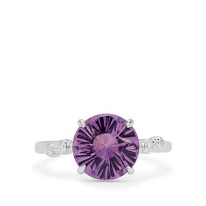 Polka Cut Bahia Amethyst Ring with White Zircon in Sterling Silver 3.25cts