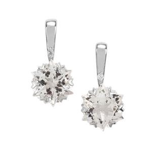 5.60ct Wobito Snowflake Cut Cullinan & White Topaz 10K White Gold Earrings