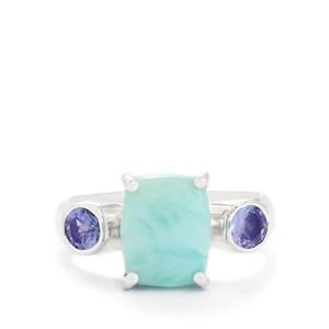 Larimar Ring with Tanzanite in Sterling Silver 3.73cts