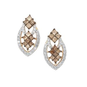 1.75ct Champagne & White Diamond 9K Gold Tomas Rae Earrings