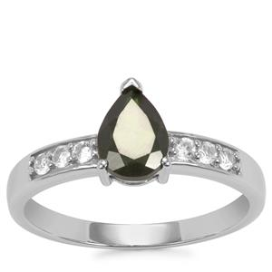 Chrome Diopside Ring with White Topaz in Sterling Silver 1.17cts