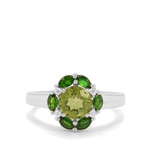 Changbai Peridot, Chrome Diopside & White Zircon Sterling Silver Ring ATGW 2.20cts