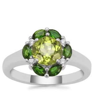 Changbai Peridot, Chrome Diopside Ring with White Zircon in Sterling Silver 2.20cts