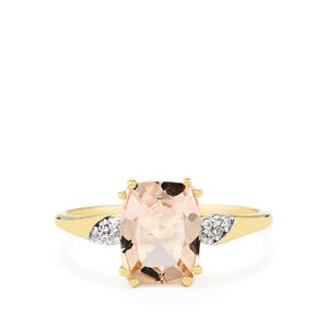 Mutala Morganite Ring with White Zircon in 10K Gold 1.93cts