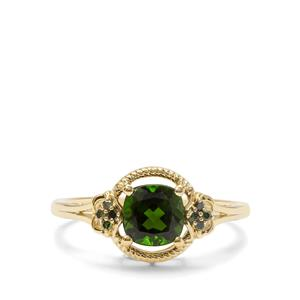 Chrome Diopside & Green Diamond 9K Gold Ring ATGW 1.23cts