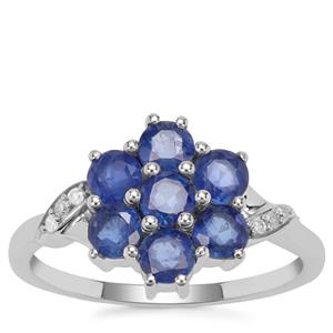 Burmese Blue Sapphire Ring with Diamond in 9K White Gold 1.79cts
