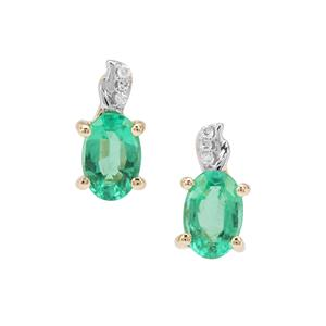 Ethiopian Emerald & Diamond 9K Gold Earrings ATGW 0.90ct