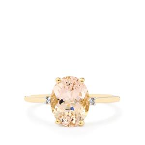 Mutala Morganite Ring with Diamond in 10k Gold 2.42cts
