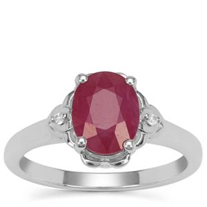 John Saul Ruby Ring with White Zircon in Sterling Silver 2.55cts