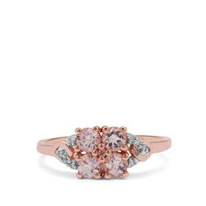Cherry Blossom™ Morganite Ring with Diamond in 9K Rose Gold 0.67ct