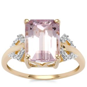 Minas Gerais Kunzite Ring with Diamond in 10K Gold 3.97cts
