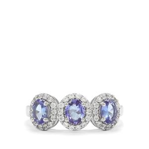 AA Tanzanite & White Zircon Platinum Plated Sterling Silver Ring ATGW 1.53cts