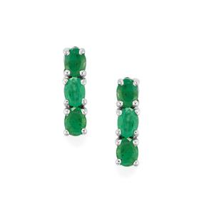 1ct Minas Gerais Emerald Sterling Silver Earrings
