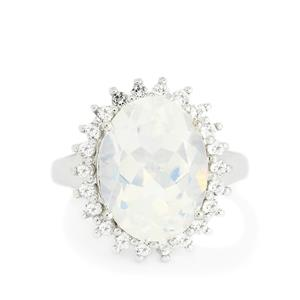 Arctic Quartz & White Topaz Sterling Silver Ring ATGW 9.81cts