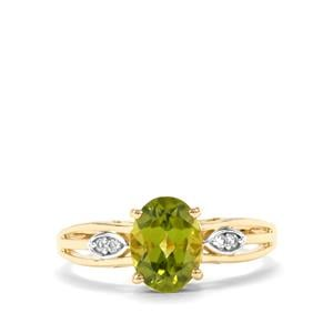 Changbai Peridot Ring with White Zircon in 10k Gold 1.61cts