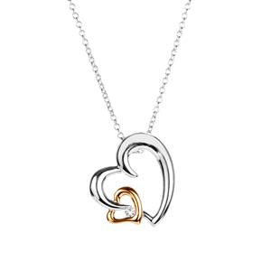 White Topaz Double Heart Slider Necklace in Two Tone Sterling Silver 0.08ct
