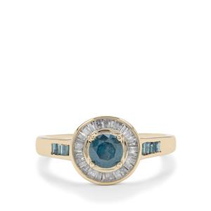 Blue Diamond Ring with White Diamond in 9K Gold 0.80ct