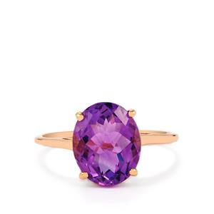 Zambian Amethyst Ring in 9K Rose Gold 3.26cts