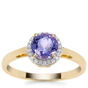 AA Tanzanite Ring with Diamond in 9K Gold 0.98ct