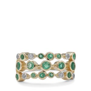 Ethiopian Emerald Ring with White Zircon in 9K Gold 0.75ct