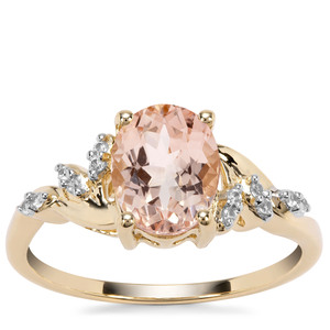 Rose Danburite Ring with White Zircon in 9K Gold 1.95cts