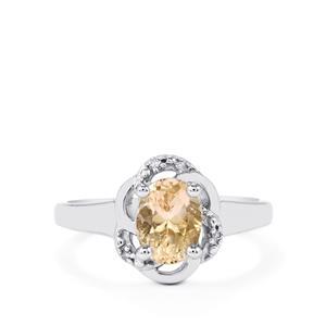 Champagne Danburite Ring with Diamond in Sterling Silver 1.28cts