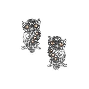 Natural Marcasite Jewels of Valais Owl Earrings in Sterling Silver 0.15ct