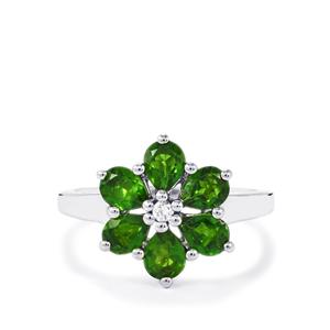 Chrome Diopside Ring with White Zircon in Sterling Silver 1.97cts