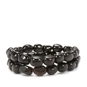 Black Spinel Set of 2 Tumble Bead Elastic Bracelet 177cts