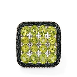 Hunan Peridot & Black Spinel Sterling Silver Ring ATGW 6.66cts