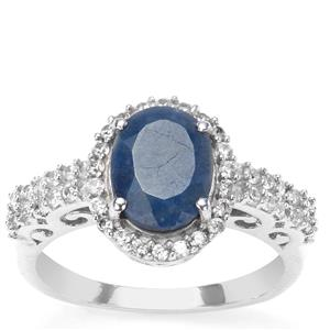 Siam Sapphire & White Zircon Sterling Silver Ring ATGW 3.32cts