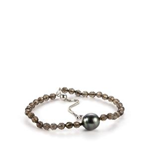 Tahitian Cultured Pearl Bracelet with Smokey Quartz in Sterling Silver (12mm)