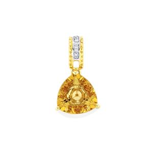 Lehrer KaleidosCut Champagne Quartz, Ceylon Zircon Pendant with Diamond in 10K Gold 2.75cts