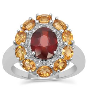 Gooseberry Grossular Garnet, Diamantina Citrine Ring with White Zircon in Sterling Silver 4.06cts