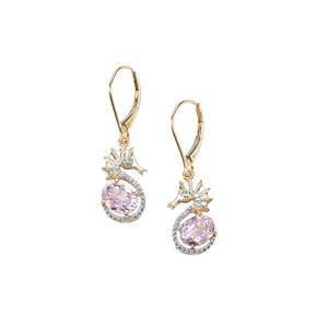 Kolum Kunzite Sea Horse Earrings with Diamond in 9K Gold 3.51cts