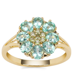 Aquaiba™ Beryl Ring with Green Tourmaline in 9K Gold 1.28cts
