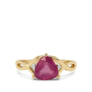 Ilakaka Hot Pink Sapphire & Diamond 9K Gold Ring ATGW 2.25cts (F)