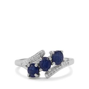 Burmese Blue Sapphire Ring with White Zircon in Sterling Silver 1.50cts