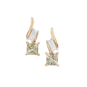 Csarite® Earrings with White Zircon in 9K Gold 1.12cts
