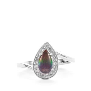 AA Ammolite & White Zircon Sterling Silver Ring (8 x 5mm)