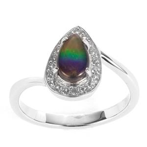 AA Ammolite Ring with White Zircon in Sterling Silver (8 x 5mm)