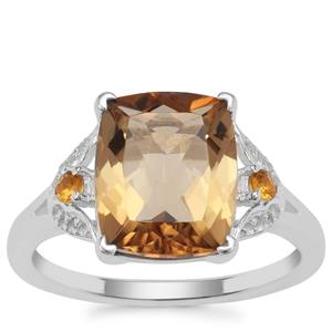 Scapolite, Diamantina Citrine Ring with White Zircon in Sterling Silver 3.62cts