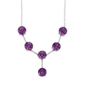 Moroccan Amethyst Necklace with White Topaz in Sterling Silver 20.44cts